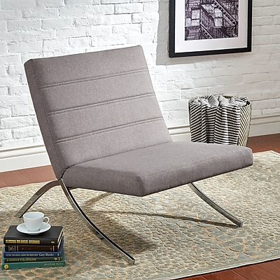 HomeBelle Gray Linen Chair With Metal Leg (78692CGL)