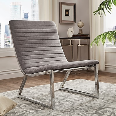 HomeBelle Gray Linen Chair With U-Shaped Metal Leg (78693CGL)