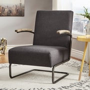 HomeBelle Dark Gray Linen Chair With S-Shaped Metal Leg (78694CDGL)