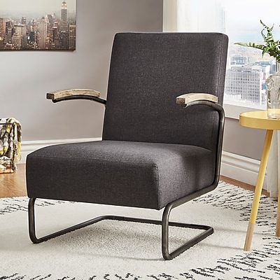 HomeBelle Dark Gray Linen Chair With S-Shaped Metal Leg (78694CDGL)