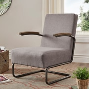 HomeBelle Gray Linen Chair With S-Shaped Metal Leg (78694CGL)