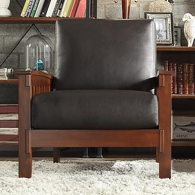 HomeBelle Oak Dark Brown Vinyl Mission Chair (7899121BC3A)