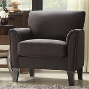 HomeBelle Espresso Finish Dark Grey Linen Chair (789913DGL1TL)