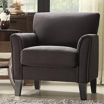 HomeBelle Espresso Finish Dark Grey Linen Chair (789913DGL1TL)