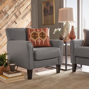 HomeBelle Espresso Finish Grey Linen Chair (789913GL1TL)