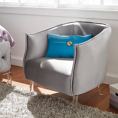 HomeBelle Silver Velvet Curved Back Accent Chair (78E650CSV3A)