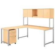 """Bush Business Furniture 400 Series 72""""W L Shaped Desk with Hutch, 42""""W Return and Mobile File, Natural Maple (400S181AC)"""