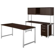 Bush Business Furniture 400 Series 72W x 30D Table Desk with Credenza, Hutch and 3 Drawer Mobile File, Mocha Cherry (400S169MR)