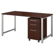 "Bush Business Furniture 400 Series 60""W x 30""D Table Desk with 3 Drawer Mobile File Cabinet, Harvest Cherry (400S150CS)"