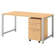 "Bush Business Furniture 400 Series 60""W x 30""D Table Desk with 3 Drawer Mobile File Cabinet, Natural Maple (400S150AC)"