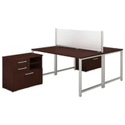 "Bush Business Furniture 400 Series 60""W x 30""D 2 Person Workstation with Table Desks and Storage, Harvest Cherry (400S142CS)"