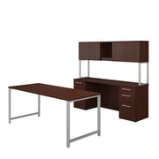 """Bush Business Furniture 400 Series 72""""W x 30""""D Table Desk, Credenza with File Drawers and Hutch, Harvest Cherry (400S137CS)"""