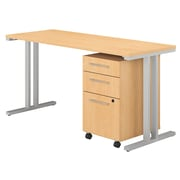 "Bush Business Furniture 400 Series 60""W x 24""D Table Desk with 3 Drawer Mobile File Cabinet, Natural Maple (400S216AC)"