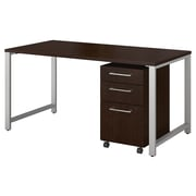 """Bush Business Furniture 400 Series 60""""W x 30""""D Table Desk with 3 Drawer Mobile File Cabinet, Mocha Cherry (400S150MR)"""
