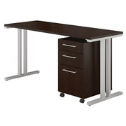 """Bush Business Furniture 400 Series 60""""W x 24""""D Table Desk with 3 Drawer Mobile File Cabinet, Mocha Cherry (400S216MR)"""