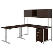 "Bush Business Furniture 400 Series 72""W L Shaped Desk with Height Adjustable Return, Hutch and Storage, Mocha Cherry (400S189MR)"