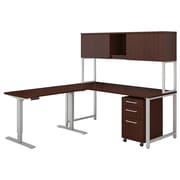"Bush Business Furniture 400 Series 72""W L Shaped Desk with Height Adjustable Return and Hutch, Harvest Cherry (400S189CS)"