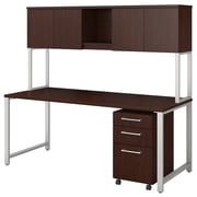 Bush Business Furniture 400 Series 72W x 30D Table Desk with Hutch and 3 Drawer Mobile File Cabinet, Harvest Cherry (400S174CS)