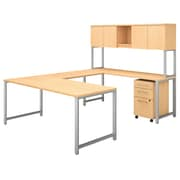 "Bush Business Furniture 400 Series 72""W U Shaped Table Desk with Hutch and Mobile File, Natural Maple, Installed (400S160ACFA)"