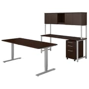 "Bush Business Furniture 400 Series 72""W x 30""D Adjustable Desk with Credenza and Hutch, Mocha Cherry, Installed (400S193MRFA)"