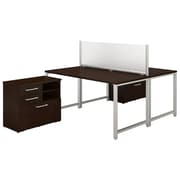 "Bush Business Furniture 400 Series 60""W x 30""D 2 Person Workstation with Table Desks, Mocha Cherry, Installed (400S142MRFA)"