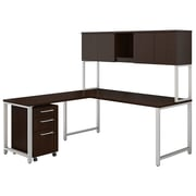 """Bush Business Furniture 400 Series 72""""W L Shaped Desk with Hutch, Return and Mobile File, Mocha Cherry, Installed (400S181MRFA)"""