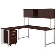 "Bush Business Furniture 400 Series 72""W, L-Desk with Hutch, Return and File, Harvest Cherry, Installed  (400S181CSFA)"
