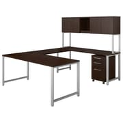 "Bush Business Furniture 400 Series 72""W U Shaped Table Desk with Hutch and Mobile File, Mocha Cherry, Installed (400S160MRFA)"