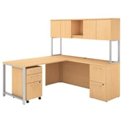 """Bush Business Furniture 400 Series 72""""W x 22""""D L Shaped Desk with Hutch, 48""""W Return, Natural Maple, Installed (400S127ACFA)"""