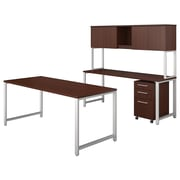 "Bush Business Furniture 400 Series 72""W Table Desk with Credenza, Hutch and Mobile File, Harvest Cherry, Installed (400S169CSFA)"