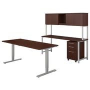 "Bush Business Furniture 400 Series 72""W Adjustable Desk with Credenza and Hutch, Harvest Cherry, Installed (400S193CSFA)"