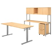 "Bush Business Furniture 400 Series 72""W Adjustable Desk with Credenza and Hutch, Natural Maple, Installed (400S193ACFA)"