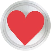 """Amscan Key To Your Heart Plate, 7"""" x 7"""", Metallic Paper, 5/Pack, 8 Per Pack (549619)"""