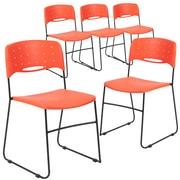 Flash Furniture HERCULES Series Plastic Stack Chair Vented, Orange, 5/Pk (5RUTNC558AOR)