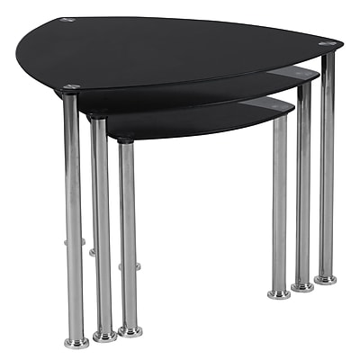 Flash Furniture Pacific Heights Nesting Table, Clear/Black (HG112439)
