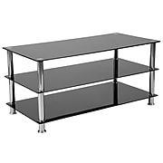 Flash Furniture Riverside Collection Black Glass TV Stand, Stainless Steel Frame (HG-112441-GG)