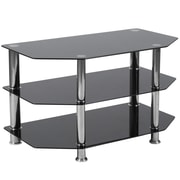 Flash Furniture North Beach Black Glass TV Stand with Stainless Steel Metal Frame Black Finish (HG-112457-GG)