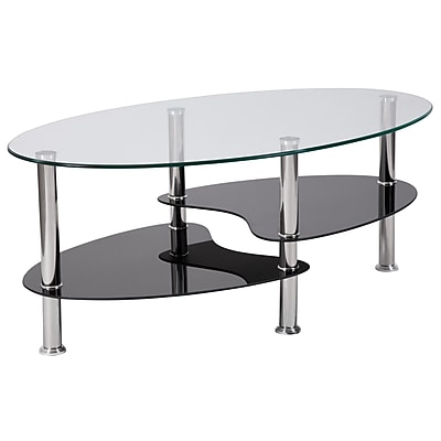 Flash Furniture HERCULES Series Coffee Table, Clear/Stainless Steel (HG600920)