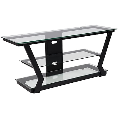 Flash Furniture Harbor Hills Glass TV Stand with Black Metal Frame (NAN-JH-1760-GG)