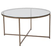 Flash Furniture Greenwich Collection Coffee Table, Clear/Matte Gold (NANJH1786CT)