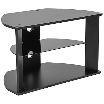 Flash Furniture Northfield Black Tv Stand With Glass Shelves Black