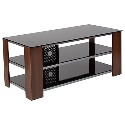 Flash Furniture Montgomery Black Tv Stand With Glass Shelves Steel