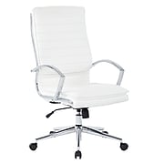 Office Star Pro-Line II White Faux Leather High Back Manager's Chair with Chrome Finish Arms and Base (SPX23590C-U11)