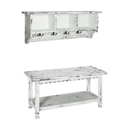 Alaterre Country Cottage Coat Hook and Bench Set with White Antique Finish (ACCA0304WA)