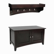 Alaterre Shaker Cottage Tray Shelf Coat Hook and Cabinet Bench Set with Espresso Finish (ASCA0509P0)