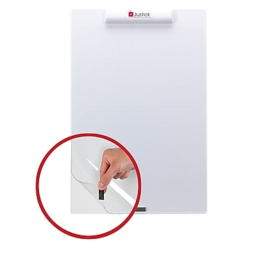"Justick Mini-Electro Clear Overlay Dry-Erase Board, Frameless, 16"" x 24"", White (02546)"