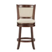 "HomeBelle Cherry Finish Beige Linen 24""H Swivel Counter Height Chair (Cushion Back) (78113124BL)"