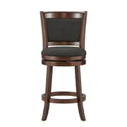 "HomeBelle Cherry Finish Dark Grey Linen 24""H Swivel Counter Height Chair (Cushion Back) (78113124DGL)"