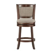 "HomeBelle Cherry Finish Grey Linen 24""H Swivel Counter Height Chair (Cushion Back) (78113124GL)"