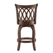 "HomeBelle Cherry Finish Beige Linen 24""H Swivel Counter Height Chair (Motif Design) (78113324BL)"